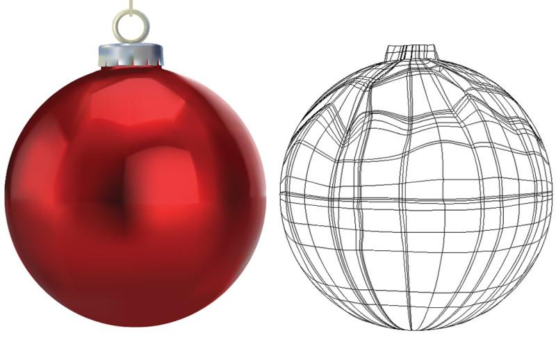 Vector mesh christmas balls birta graphics