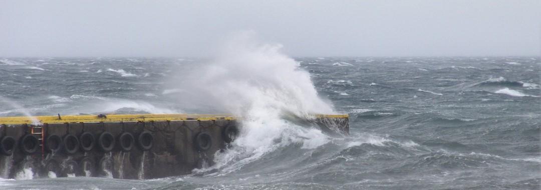 Drangsnes pier in storm weather, Copyright © ruslendingur,  Drangsnes;